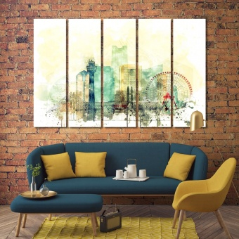 Yokohama large wall art for living room, Japan print canvas art