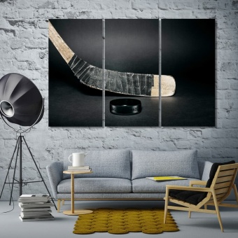Hockey stick wall art large, hockey puck cool art for walls