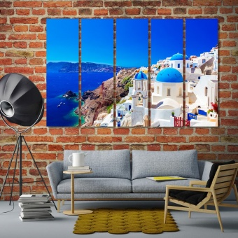 Santorini island wall decor prints, Greece art for home