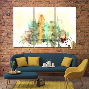 Montreal city watercolor drawing, Canada canvas prints art