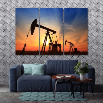 The oil pump wall art office, industrial equipment wall prints