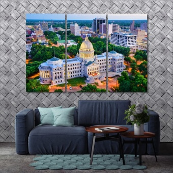 Jackson canvas art decor, Mississippi view over the Capitol Building