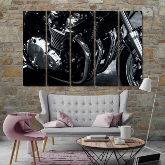 Motorcycle black and white modern art, engine home decor pictures