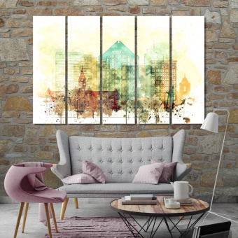 Wichita watercolor drawing, Kansas canvas wall decor