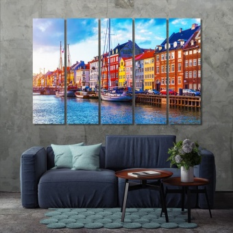 Copenhagen large paintings for living room, Denmark print canvas art