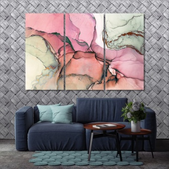Rose marble abstract framed artwork for bedroom, abstract canvas art