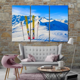 Ski large contemporary wall art, mountains and ski equipments decor