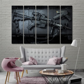 Weapons large home decor, assault rifle and pistol gun canvas decor