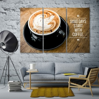 A cup of coffee large contemporary wall art, coffee canvas prints art