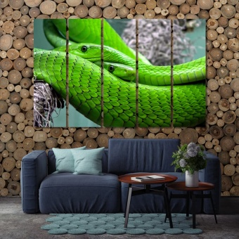 Green snakes artistic prints on canvas, snake art decor ideas