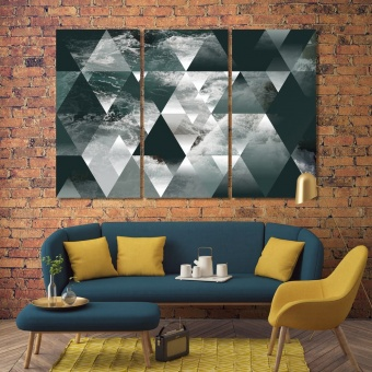 Abstract sea geometry with triangles canvas prints art