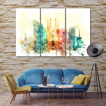 Barcelona art for large wall, Spain canvas art work