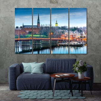 Annapolis Eastport Bridge canvas prints art, ‎Maryland city wall art