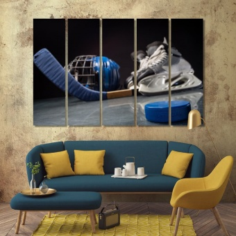 Hockey puck and hockey equipment wall decorating ideas pictures