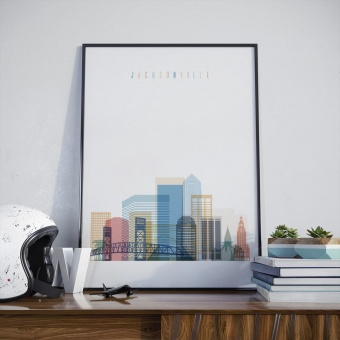 Jacksonville wall decor poster, Florida picture art