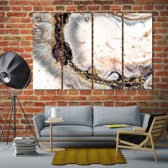 Coral colors with golden abstract art canvas