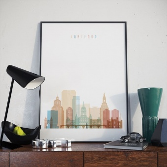 Hartford art print, Connecticut artwork for the home