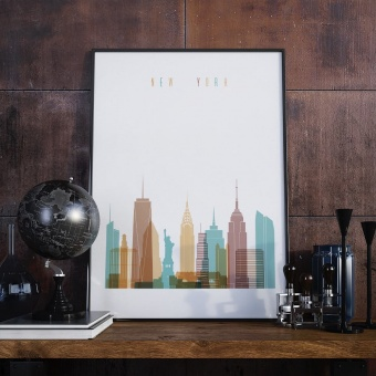 New York City living room poster, United States art wall decor