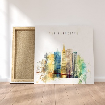 San Francisco watercolor painting on canvas, California modern wall
