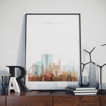 Marseille cityscape art print, France wall decor for home