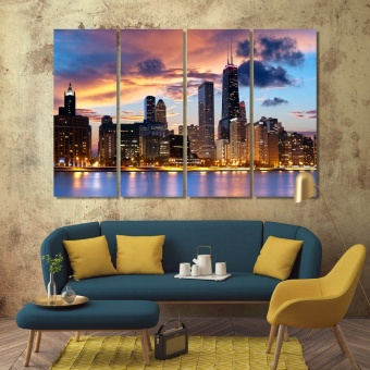 Chicago wall decor for dining room, ‎Illinois canvas art prints