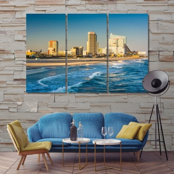 Atlantic City wall decor for dining room, New Jersey print canvas art