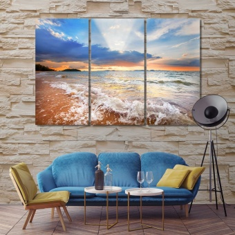 Sunset on the beach print canvas art, tropical beach large wall art