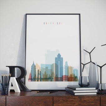Bangalore art print, India wall decorations for bedrooms