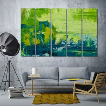 Green and blue abstract oil painting print canvas art