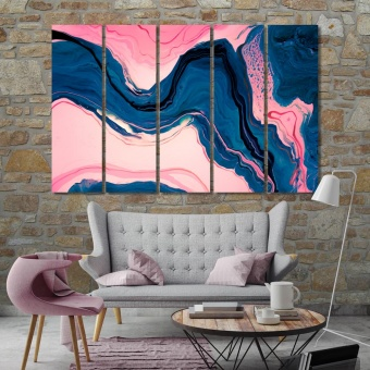 Pink & blue abstract art prints on canvas, abstract wall decor