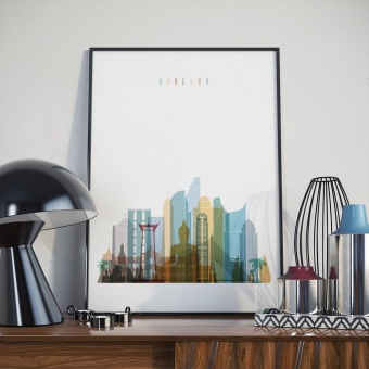 Bangkok skyline print, Thailand home goods wall art