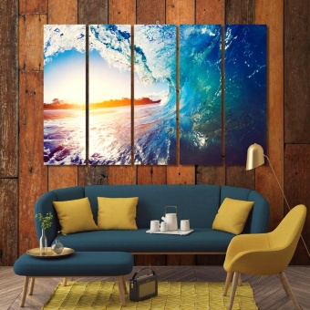 Sunrise wave bathroom decorations for walls, ocean wave wall arts