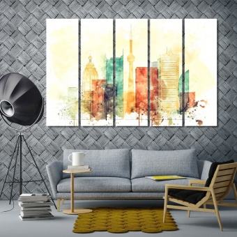 Toronto home interior wall decor, Canada watercolor drawing