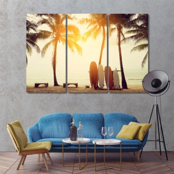 Sunny sunset picture wall decor, beach canvas prints art