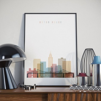 Baton Rouge wall decor poster, Louisiana art for home