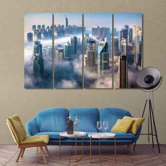 Dubai wall decor canvas, UAE an impressive aerial top view of the city