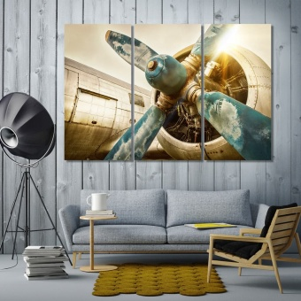 Aircraft propeller print canvas art, airplane dining room wall decor