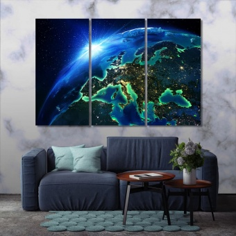 Space wall decorations for bedrooms, planet art prints on canvas