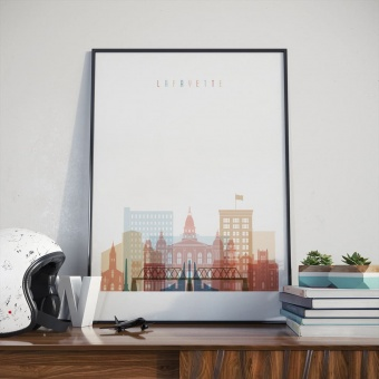 Lafayette art print, Indiana art for living room walls