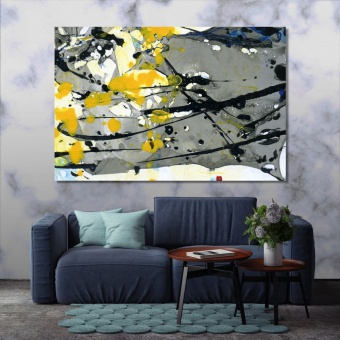 Grey abstract wall decor, paint splashes artwork for offices