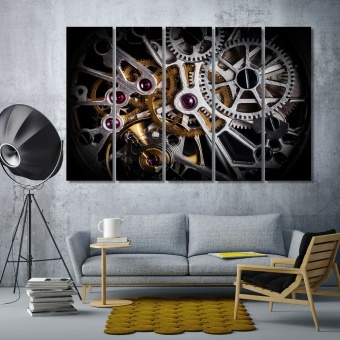 Clockwork of a watch with jewels art prints
