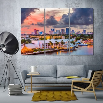 Fort Lauderdale evening city canvas wall art, Florida artwork for home