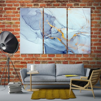 Blue marble abstract art canvas wall art contemporary