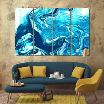 Abstract blue beautiful wall decor, paint stains print canvas art