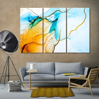 Spots of paint on canvas art on the wall, abstract home decor pictures