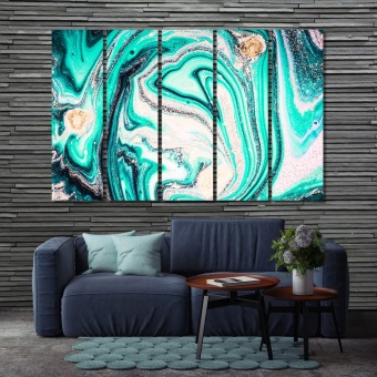 Abstract art of acrylic paints in aquamarine color tones canvas decor