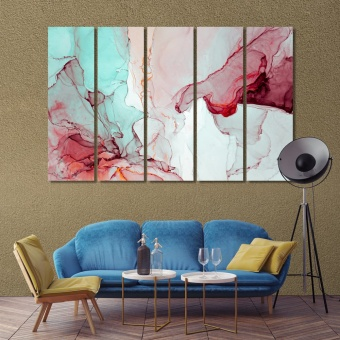 Red marble abstract art modern wall art for living room
