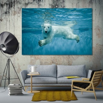 Polar Bear cool art for walls, white bear home goods wall art