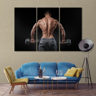 Dumbbell exercises walls decorations, motivation print canvas art