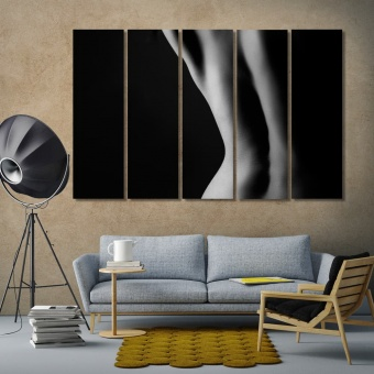 Nude shape of a woman black and white modern abstract art